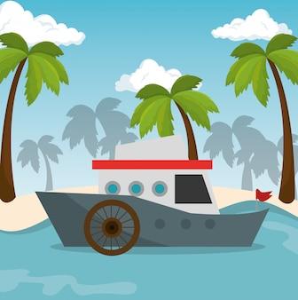 Barco transporte praia mar