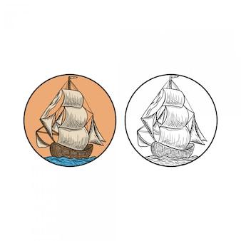 Barco vintage mão desenhada gravado