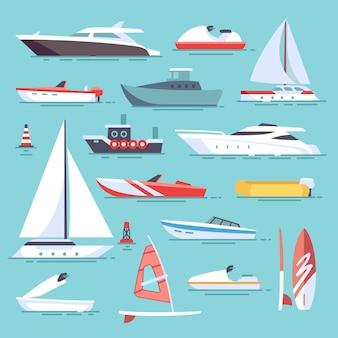 Barcos de mar e pequenos navios de pesca. ícones de vetor plana de veleiros. conjunto de barco de transporte de água e ves