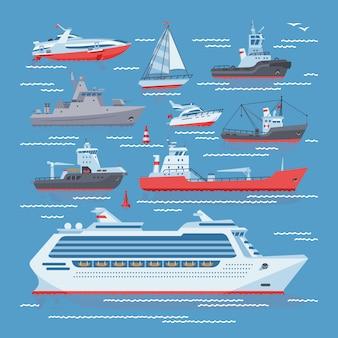 Barcos de navios ou cruzeiro viajando no oceano ou no mar e transporte conjunto marinho de ilustração de transporte de veleiro náutico iatismo ou lancha no fundo