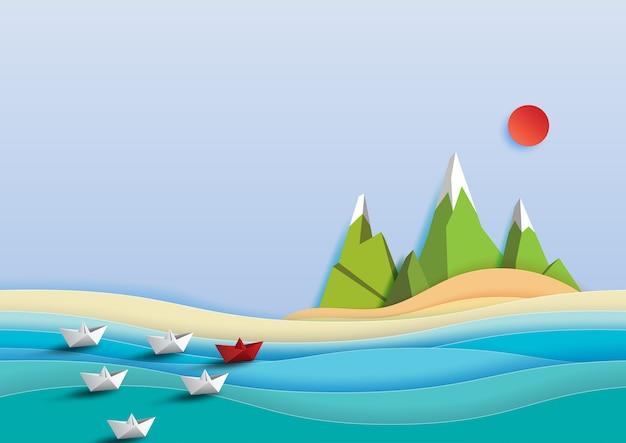 Barcos de papel que navegam no estilo da arte do papel de mar.