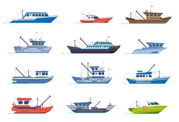 Barcos de pescadores. navios comerciais de pesca, barco marítimo de fisher para a água do oceano, conjunto de ilustração de barco de indústria de frutos do mar. pesca marítima, indústria naval, barco de peixes