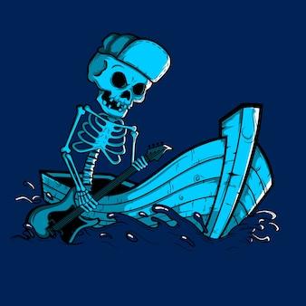 Barcos de remo de esqueleto com guitarra à noite