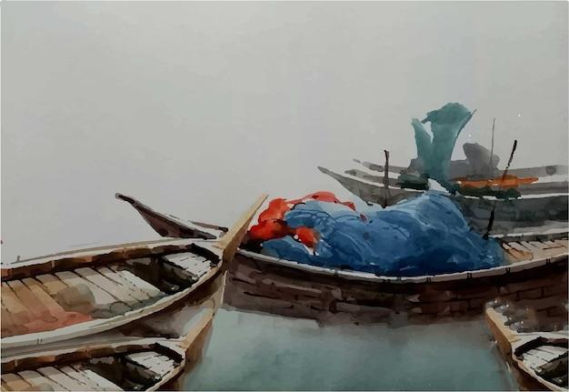 Barcos em aquarela ficam na ilustração do rio
