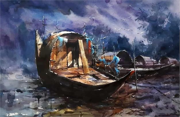 Barcos em aquarela na arte manual do local de leck