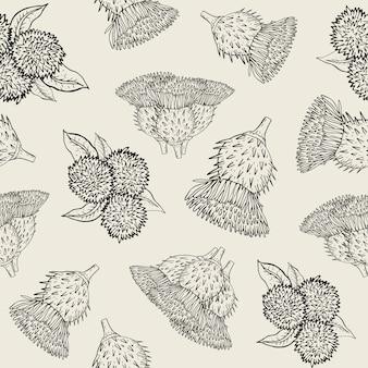 Bardana textura perfeita com botões de mão desenhada. padrão de ilustração de contorno.