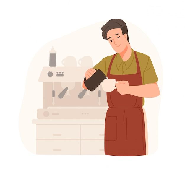 Barista bonitinho fazendo cappuccino no café ou coffeeshop. jovem sorridente de avental adiciona creme ou leite no café. personagem de desenho animado masculino preparando a bebida. ilustração colorida em estilo simples