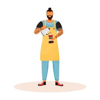 Barista com barba personagem plana