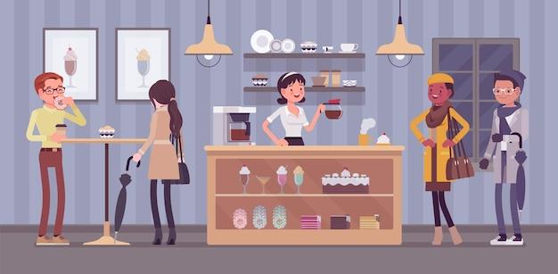 Barista da cafeteria e visitantes da cafeteria, interior do café