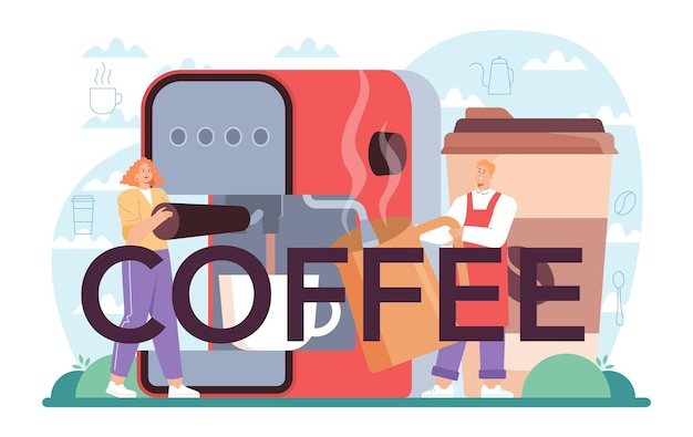 Barista de cabeçalho tipográfico de café fazendo uma xícara de café quente na máquina de café