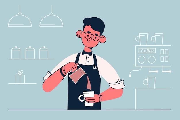 Barista durante o trabalho de ilustração