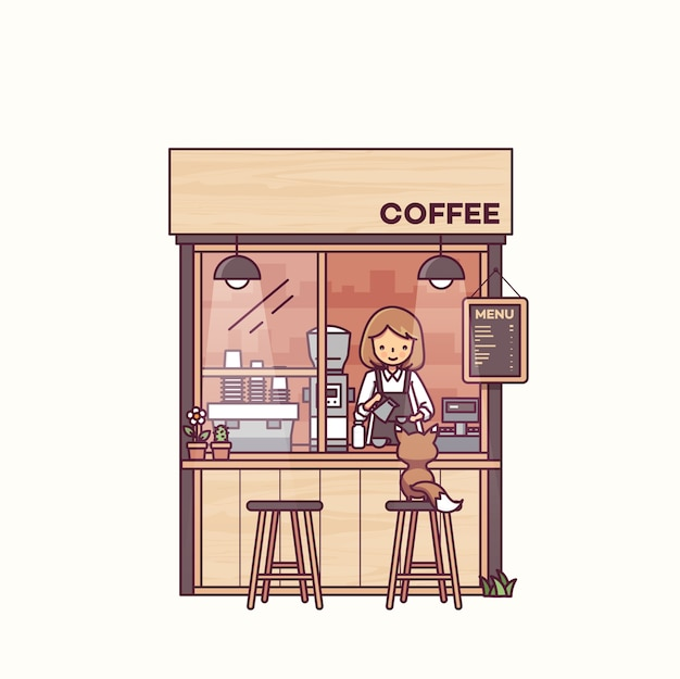 Barista e gato em ilustração vetorial de loja de café
