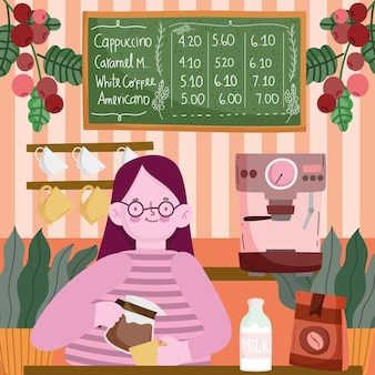 Barista em cafeteria