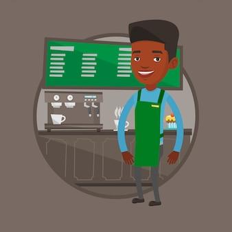 Barista em pé perto da máquina de café.