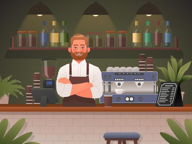 Barista em uma loja de café conceito de empresa de pequeno porte homem feliz em avental trabalhador de refeitório v