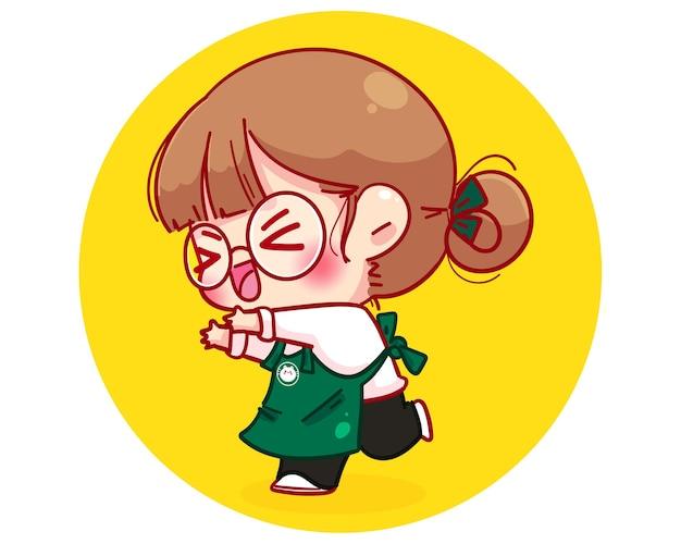 Barista fofa com avental ilustração animada e contente da personagem de desenho animado