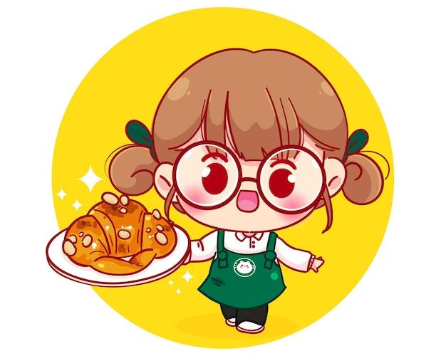 Barista fofa com avental segurando um prato de croissant com ilustração de personagem de desenho animado