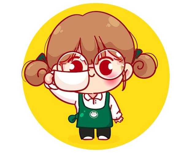 Barista fofa com avental segurando uma xícara de café com ilustração de personagem de desenho animado