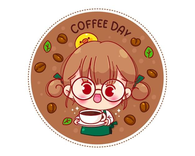 Barista fofa com avental segurando uma xícara de café com logotipo de personagem de desenho animado