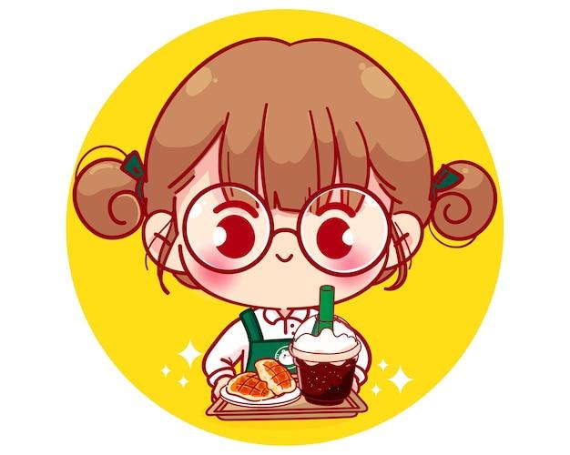Barista fofa com avental segurando waffles e café com ilustração de personagem de desenho animado