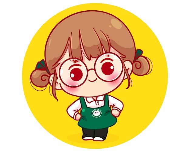 Barista fofa com avental sorrindo e agradecendo a ilustração do personagem de desenho animado