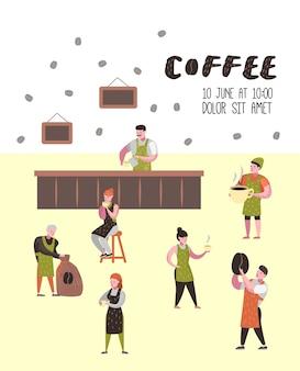 Barista homem e mulher plana personagens em cafeteria