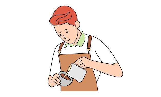 Barista servindo leite no café
