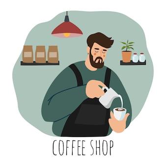 Barista vestindo avental derramando leite batido na xícara de café.