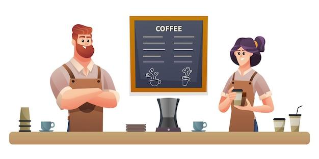 Baristas homem e mulher trabalhando em ilustração de cafeteria