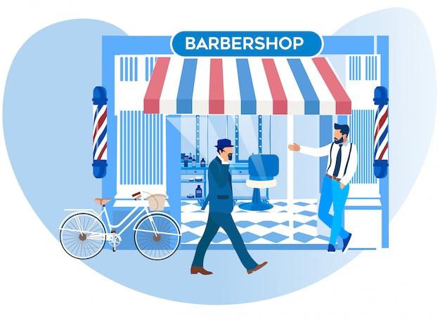 Barker convidando pedestres para a nova barbearia