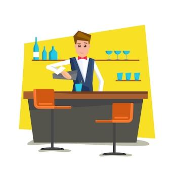 Barman com balcão de bar.