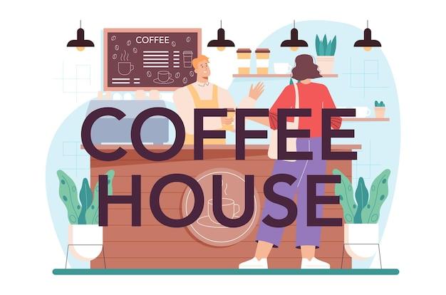 Barman com cabeçalho tipográfico do coffeehouse fazendo uma xícara de café quente