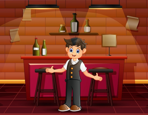 Barman masculino, convidando as pessoas no bar