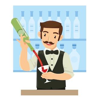 Barman masculino derramando vinho para o cliente no bar