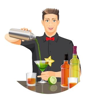Barman masculino fazendo coquetel, despejando o líquido da garrafa de prata no vidro com a bebida verde.