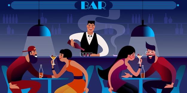 Barman no balcão derramando. casais jovens nas mesas do bar da noite. ilustração plana.