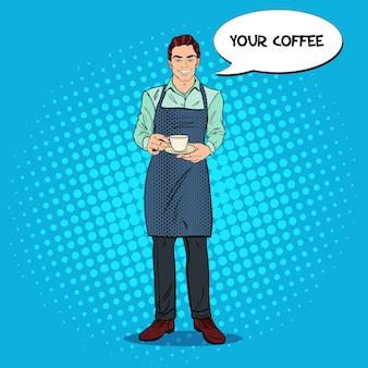Barman sorridente com uma xícara de café