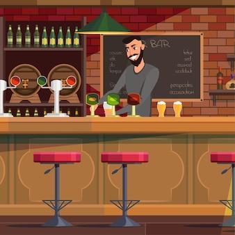 Barman trabalhando em um bar, sorrindo alegre barman servindo cerveja no copo.
