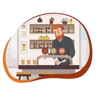 Barman trabalhando no balcão de bar ilustração plana