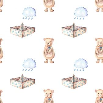 Barquinhos de papel nuvens de chuva e fofo urso padrão sem emenda