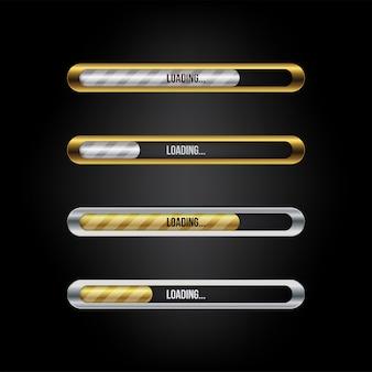 Barra de carregamento conjunto de web cor dourada