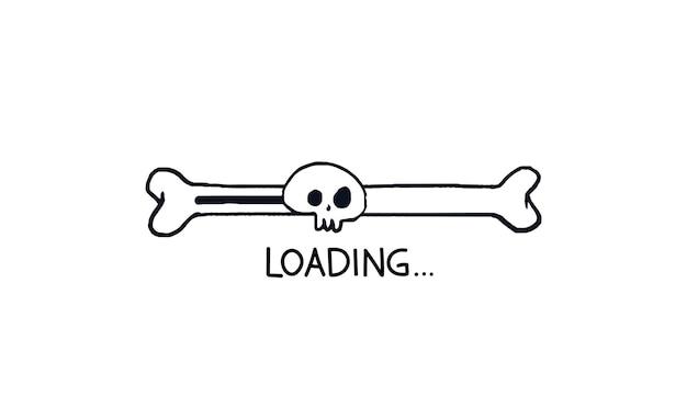 Barra de carregamento de halloween osso da barra de progresso do doodle com contorno de crânio