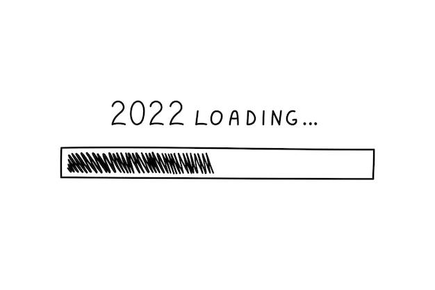 Barra de carregamento de progresso 2022 ano novo em estilo doodle, ilustração vetorial. símbolo de carregamento desenhado à mão