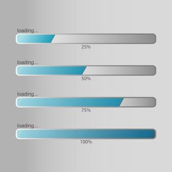 Barra de carregamento. porcentagem de carregamento, download, progresso de upload. ilustração vetorial.