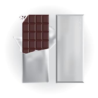 Barra de chocolate com ilustração vetorial de envoltório de folha