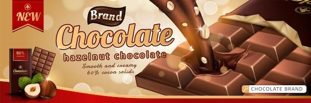 Barra de chocolate de gazelnut premium com molho escorrendo de cima para baixo no fundo de glitter dourado na ilustração 3d