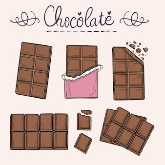 Barra de chocolate desenho desenho animado doodle coleção ilustração vetorial