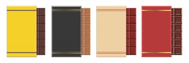 Barra de chocolate design ilustração isolada no fundo branco