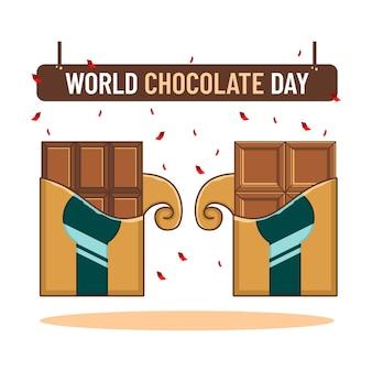 Barra de chocolate do festival mundial de chocolate do dia mundial do chocolate