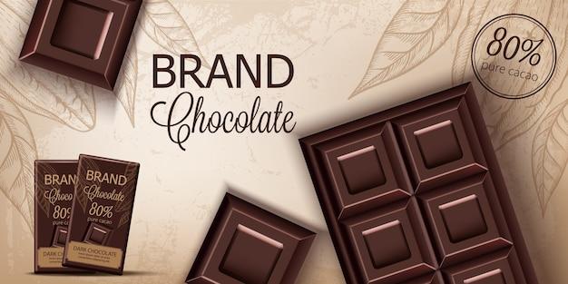 Barra de chocolate e embalagens em fundo retrô. lugar para texto. realista